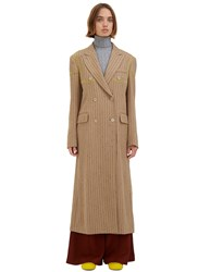 Acne Studios Ayer Long Broken Pinstripe Coat Beige