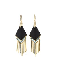 Alexis Bittar Golden Lucite And Crystal Fringed Chevron Drop Earrings Women's