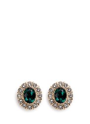 Givenchy Swarovski Crystal Pave Magnetic Earrings Green