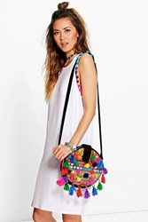 Boohoo Multi Coloured Pom Pom T Shirt Dress White