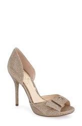 Women's Jessica Simpson 'Bealls' Bow Top Peep Toe Pump Gold Fabric