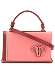 Emilio Pucci Logo Plaque Foldover Tote Pink And Purple
