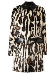 Carven Faux Fur Patterned Coat Black