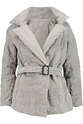 Donna Karan Belted Padded Leather Jacket Gray