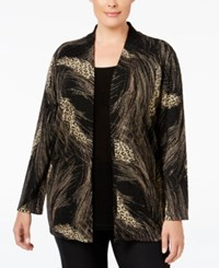 Jm Collection Plus Size Printed Layered Look Top Only At Macy's Neutral Feather