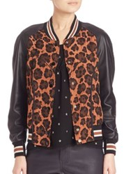 Coach Shrunken Wild Beast Bomber Jacket Natural Multi
