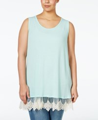 Ing Plus Size Lace Trim Knit Tank Top Mint