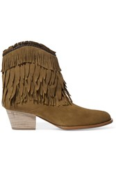 Aquazzura Pocahontas Fringed Suede Ankle Boots Tan