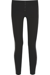 Alice Olivia Leather Paneled Stretch Jersey Leggings