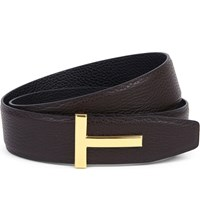Tom Ford Logo Detail Grained Leather Belt Blk Brown