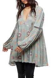 Free People Women's Just The Two Of Us Floral Tunic Blue