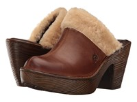 Born Prespa Russet Nutmeg Shearling Combo Women's Clog Shoes Brown
