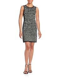 Magaschoni Sleeveless Textured Dress Blanc Black
