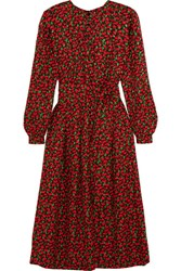 Vanessa Seward Cai Floral Print Silk Jacquard Dress Red