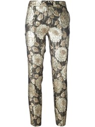 Christian Pellizzari Floral Jacquard Trousers Metallic