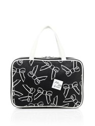 Saks Fifth Avenue Tossed Bow Travel Case Black White