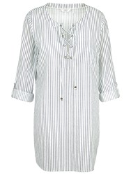 Fat Face Lace Up Stripe Shirt Ivory