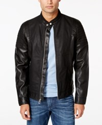 Guess Men's Abram Faux Leather Moto Jacket