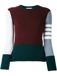 Thom Browne Classic Crewneck Pullover Pink And Purple