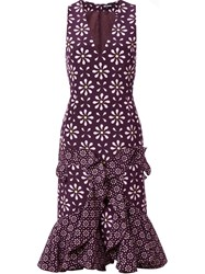 Holly Fulton Floral Print Ruffle Dress Pink And Purple
