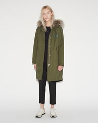 Army By Yves Salomon Technical Cotton Fishtail Parka Olive