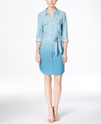 Kensie Ombre Shirt Dress Faded Blue Combo