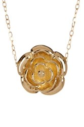 14K Yellow Gold Rose Flower Pendant Necklace Metallic