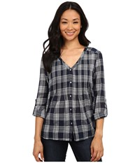 Dkny Cotton Gauze Plaid Shirt Mood Indigo Women's Long Sleeve Button Up Navy