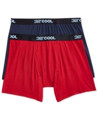 32 Degrees Cool By Weatherproof Boxer Briefs 2 Pack Navy Berry