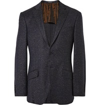 Richard James Navy Seishin Wool Blend Tweed Blazer Blue