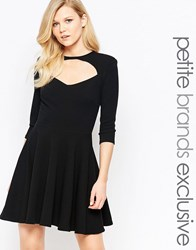 John Zack Petite Cut Out Front Short Sleeve Mini Skater Dress Black