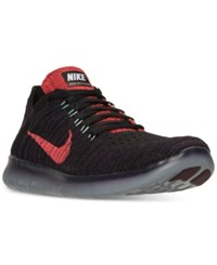 Nike Men's Free Run Flyknit Running Sneakers From Finish Line Night Maroon Bright Crims