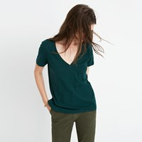 Madewell Whisper Cotton V Neck Pocket Tee Chocolate Raisin