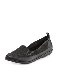 Adrianna Papell Lennox Stingray Embossed Leather Loafer Black