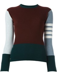 Thom Browne Colour Block Jumper Pink And Purple