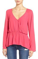 Women's Leith Surplice Ruffle Top Pink Bright