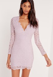 Missguided Lace Long Sleeve Bodycon Dress Lilac Purple