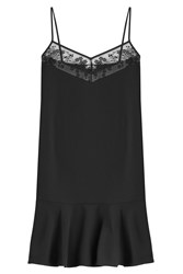 Carven Slip Dress With Embroidery Black
