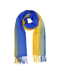 Mila Schon Cashmere And Wool Fringed Stole Blue Yellow