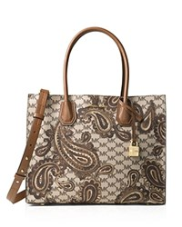 Michael Michael Kors Studio Mercer Large Paisley Convertible Tote Luggage Silver