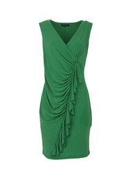 Morgan Ruched Pencil Dress With Frill Trim Green
