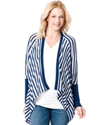 Jessica Simpson Maternity Striped Draped Cardigan Navy And White
