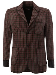 Yang Li Exposed Seam Checked Blazer Red