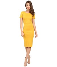Unique Vintage Three Quarter Sleeve Stretch Mod Wiggle Dress Mustard Women's Dress Yellow