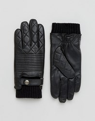 Dents Lymington Quilted Leather Gloves Black