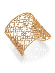 Alexis Bittar Elements Gilded Muse Crystal Studded Lace Cuff Bracelet Goldtone