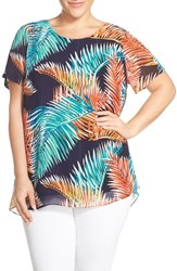 Plus Size Women's Vince Camuto 'Tropical Mystique' Chiffon Overlay Short Sleeve Blouse