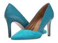 Massimo Matteo Suede And Leather Pump Acqua Women's Shoes Blue