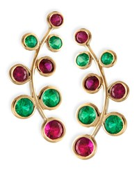 18K Yellow Gold Vine Earrings With Rubies And Emeralds Rina Limor Red