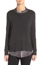 Eileen Fisher Women's Cozy Stretch Knit Ballet Neck Sweater Charcoal